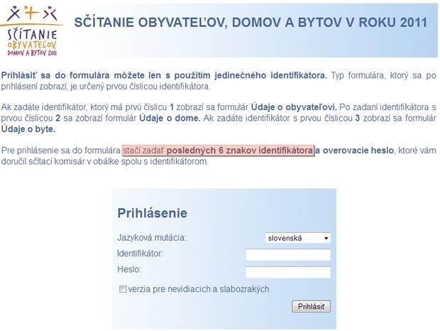 Prihlasovacia stránka do elektronického formulára na e-scitanie.sk